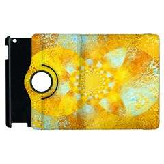 Gold Blue Abstract Blossom Apple iPad 3/4 Flip 360 Case