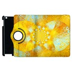 Gold Blue Abstract Blossom Apple iPad 3/4 Flip 360 Case Front