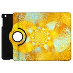 Gold Blue Abstract Blossom Apple iPad Mini Flip 360 Case Front