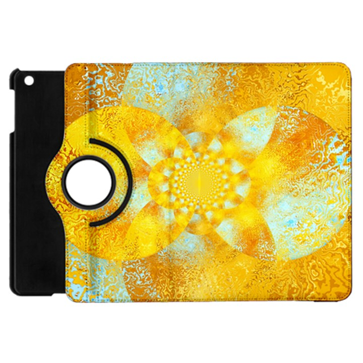 Gold Blue Abstract Blossom Apple iPad Mini Flip 360 Case