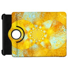 Gold Blue Abstract Blossom Kindle Fire HD Flip 360 Case