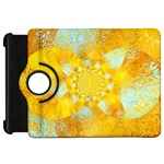 Gold Blue Abstract Blossom Kindle Fire HD Flip 360 Case Front
