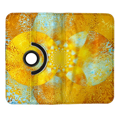 Gold Blue Abstract Blossom Samsung Galaxy Note II Flip 360 Case