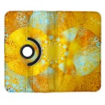 Gold Blue Abstract Blossom Samsung Galaxy Note II Flip 360 Case Front