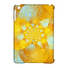 Gold Blue Abstract Blossom Apple Ipad Mini Hardshell Case (compatible With Smart Cover)