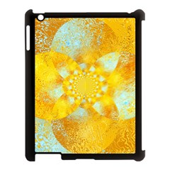 Gold Blue Abstract Blossom Apple iPad 3/4 Case (Black)