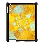 Gold Blue Abstract Blossom Apple iPad 3/4 Case (Black) Front