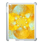Gold Blue Abstract Blossom Apple iPad 3/4 Case (White) Front