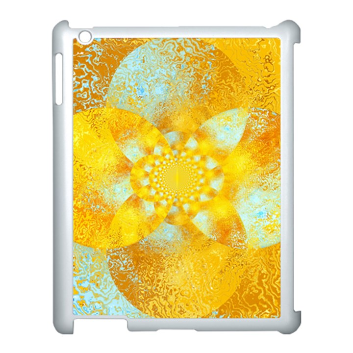 Gold Blue Abstract Blossom Apple iPad 3/4 Case (White)