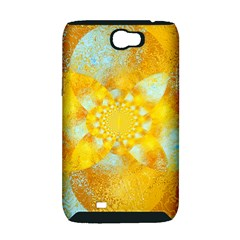 Gold Blue Abstract Blossom Samsung Galaxy Note 2 Hardshell Case (PC+Silicone)