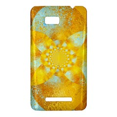 Gold Blue Abstract Blossom HTC One SU T528W Hardshell Case