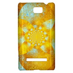 Gold Blue Abstract Blossom HTC 8S Hardshell Case