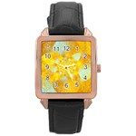 Gold Blue Abstract Blossom Rose Gold Leather Watch  Front
