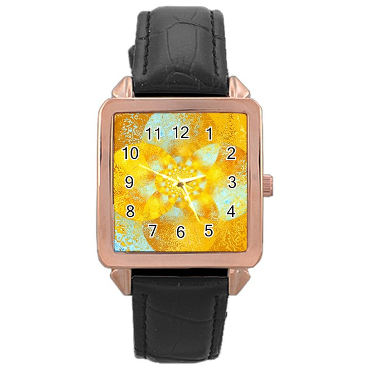 Gold Blue Abstract Blossom Rose Gold Leather Watch