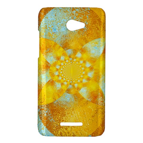 Gold Blue Abstract Blossom HTC Butterfly X920E Hardshell Case