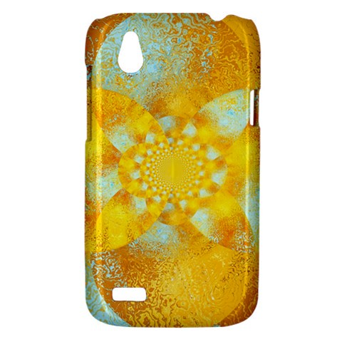 Gold Blue Abstract Blossom HTC Desire V (T328W) Hardshell Case