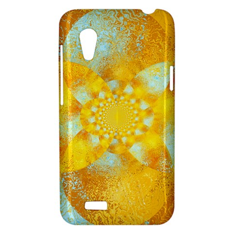 Gold Blue Abstract Blossom HTC Desire VT (T328T) Hardshell Case