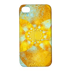 Gold Blue Abstract Blossom Apple iPhone 4/4S Hardshell Case with Stand