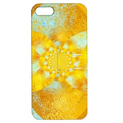 Gold Blue Abstract Blossom Apple iPhone 5 Hardshell Case with Stand