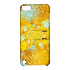 Gold Blue Abstract Blossom Apple iPod Touch 5 Hardshell Case with Stand