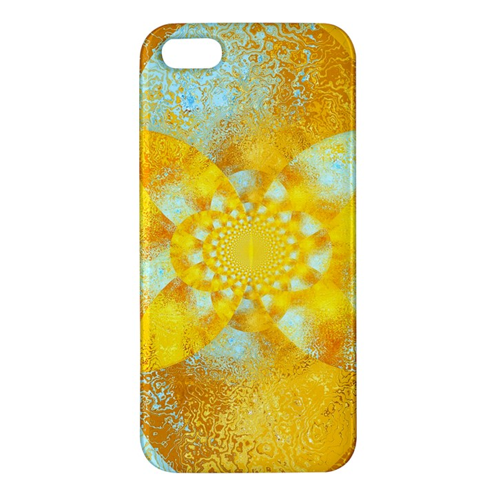 Gold Blue Abstract Blossom Apple iPhone 5 Premium Hardshell Case