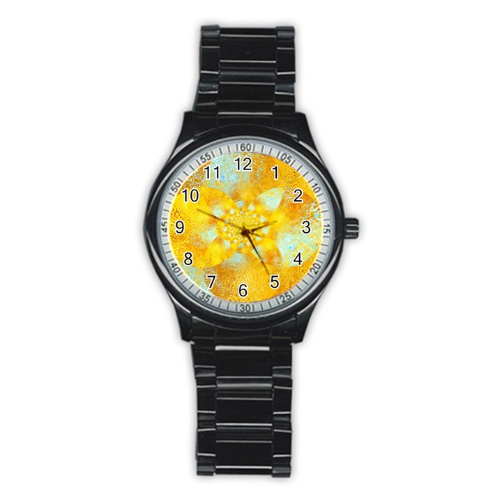 Gold Blue Abstract Blossom Stainless Steel Round Watch