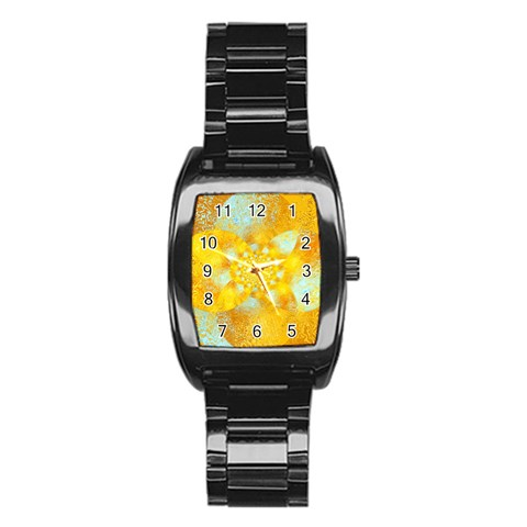 Gold Blue Abstract Blossom Stainless Steel Barrel Watch
