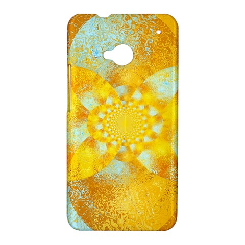 Gold Blue Abstract Blossom HTC One M7 Hardshell Case
