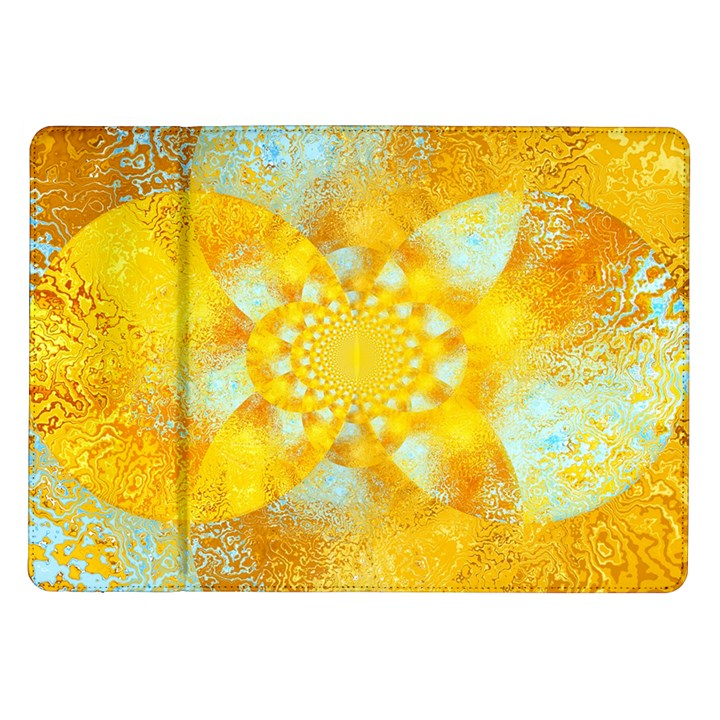 Gold Blue Abstract Blossom Samsung Galaxy Tab 10.1  P7500 Flip Case