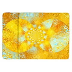 Gold Blue Abstract Blossom Samsung Galaxy Tab 8.9  P7300 Flip Case