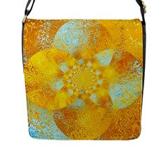 Gold Blue Abstract Blossom Flap Messenger Bag (L)