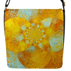 Gold Blue Abstract Blossom Flap Messenger Bag (s)