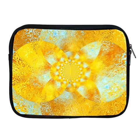 Gold Blue Abstract Blossom Apple iPad 2/3/4 Zipper Cases