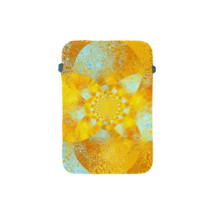 Gold Blue Abstract Blossom Apple iPad Mini Protective Soft Cases