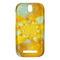 Gold Blue Abstract Blossom HTC One SV Hardshell Case