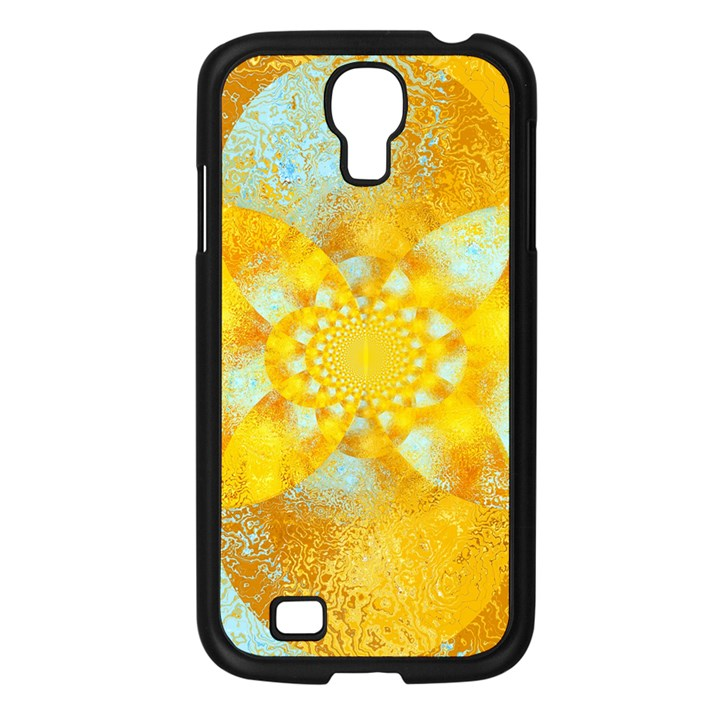 Gold Blue Abstract Blossom Samsung Galaxy S4 I9500/ I9505 Case (Black)