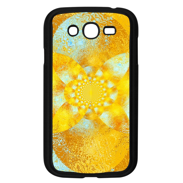 Gold Blue Abstract Blossom Samsung Galaxy Grand DUOS I9082 Case (Black)