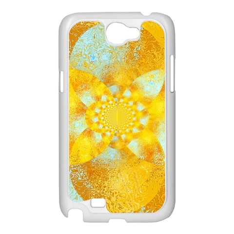 Gold Blue Abstract Blossom Samsung Galaxy Note 2 Case (White)