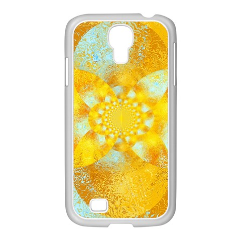 Gold Blue Abstract Blossom Samsung GALAXY S4 I9500/ I9505 Case (White)