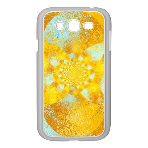 Gold Blue Abstract Blossom Samsung Galaxy Grand DUOS I9082 Case (White)
