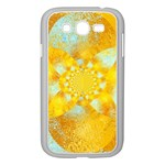 Gold Blue Abstract Blossom Samsung Galaxy Grand DUOS I9082 Case (White) Front