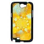Gold Blue Abstract Blossom Samsung Galaxy Note 2 Case (Black) Front