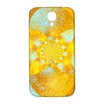 Gold Blue Abstract Blossom Samsung Galaxy S4 I9500/I9505  Hardshell Back Case Front