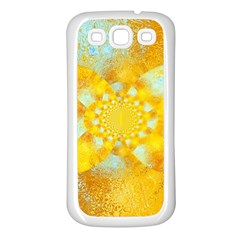 Gold Blue Abstract Blossom Samsung Galaxy S3 Back Case (white)