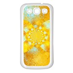 Gold Blue Abstract Blossom Samsung Galaxy S3 Back Case (White) Front