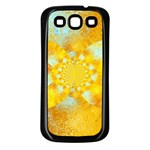 Gold Blue Abstract Blossom Samsung Galaxy S3 Back Case (Black) Front
