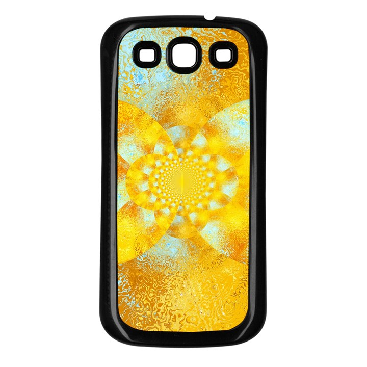 Gold Blue Abstract Blossom Samsung Galaxy S3 Back Case (Black)