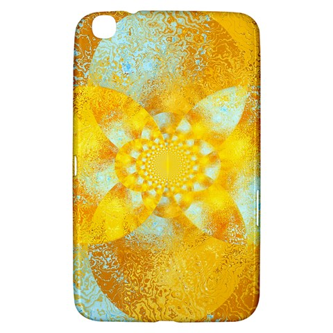 Gold Blue Abstract Blossom Samsung Galaxy Tab 3 (8 ) T3100 Hardshell Case