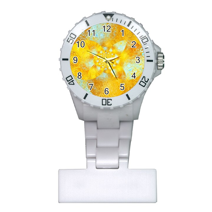 Gold Blue Abstract Blossom Plastic Nurses Watch