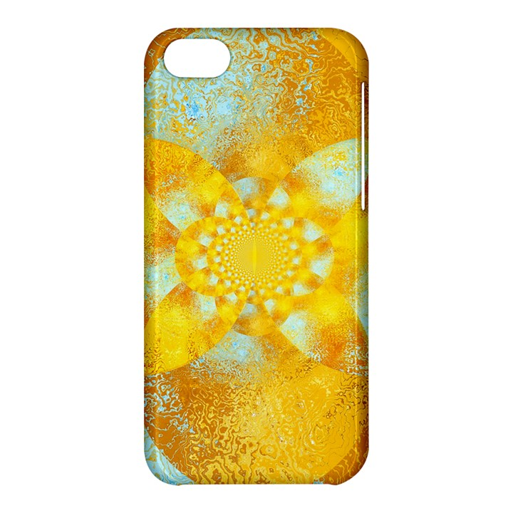 Gold Blue Abstract Blossom Apple iPhone 5C Hardshell Case